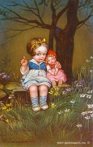 Девушка собирает яблоки - С Яблочным Спасом открытки для поздравления