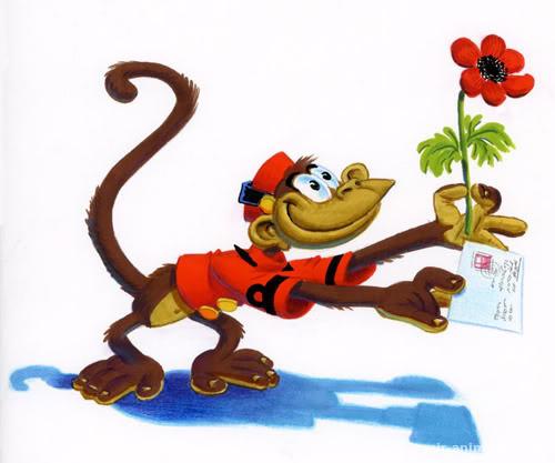 Открытка с обезьянкой с днем рождения
