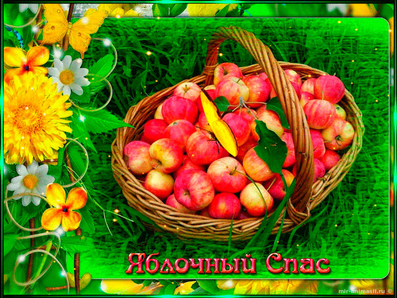 Красочная картинка с Яблочным спасом - С Яблочным Спасом открытки для поздравления