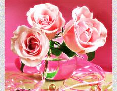 Три розовых розы